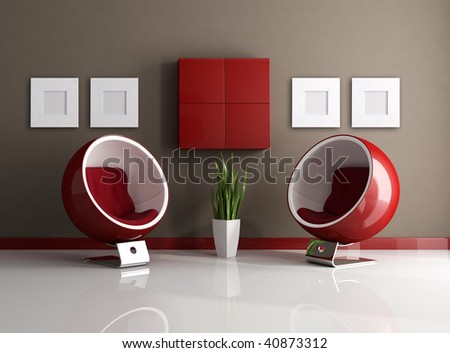 red and brown with two fashion armchair - rendering