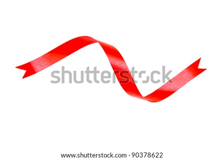 red and curly ribbons isolated on white background