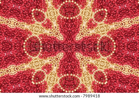 Red and Gold Abstract Beaded Cross Background - stock photo