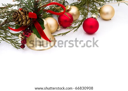 Red and gold christmas balls on a white background, christmas time - stock photo