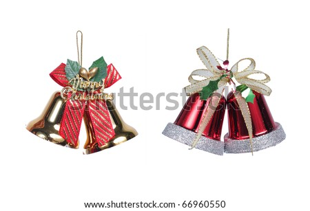 red and gold christmas bells with christmas ribbon bow decorations