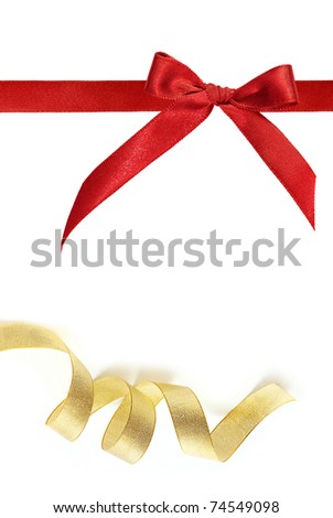 red and gold ribbon on white background