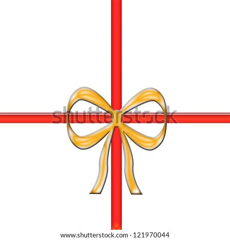 red and gold ribbon with bow / ribbon