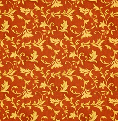 Red and gold seamless victorian floral fabric pattern