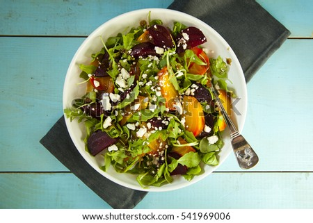 Red and golden beet salad