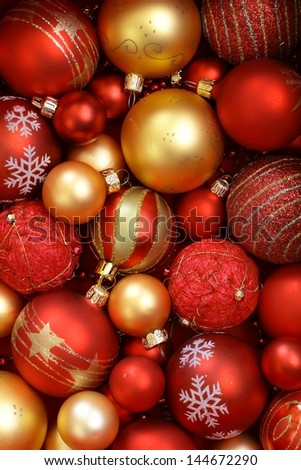 Red and golden Christmas ornaments.