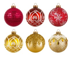 Red and golden colorful Christmas balls isolated on white background