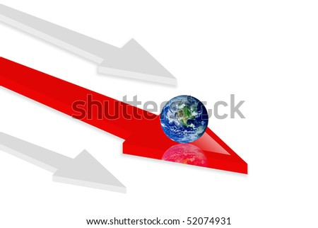 Red and gray arrow on white background. 3d illustration, Concepts:  world and movement