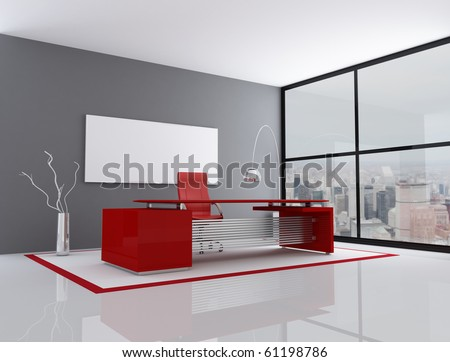 red and gray city office - rendering - the image on background is a my photo
