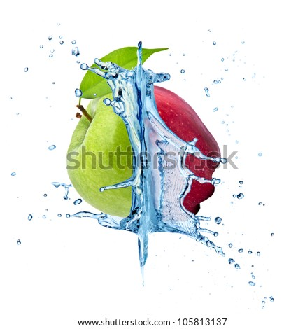 Red and green apple concept with water splash