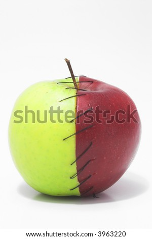 Red and green apple halves stitched together.