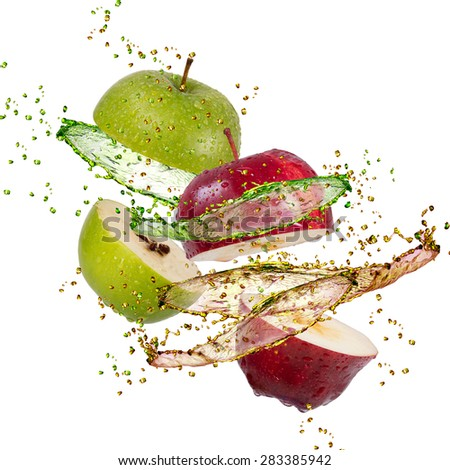 red and green apple splash on white background