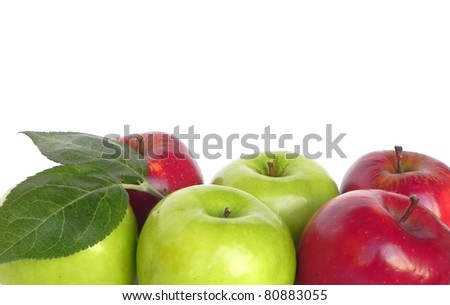 Red and green apples are shown in the picture.