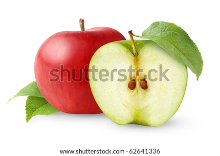 Red and green apples with leaves isolated on white