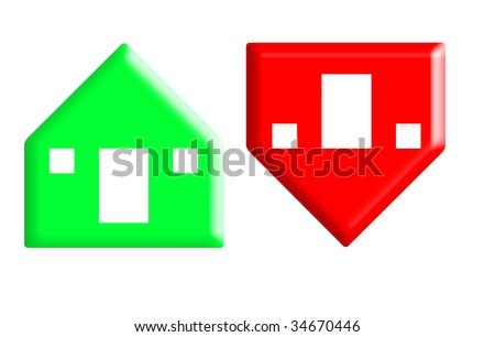 Red and green arrow buttons in shape of houses rising and falling in value, white background.