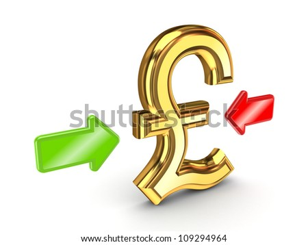 Red and green arrow pointed to a golden dollar sign.Isolated on white background.