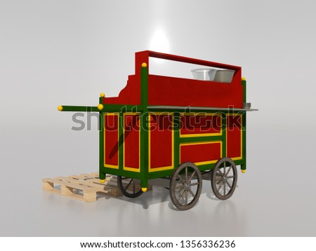 red and green beans cart traditional Egyptian food 3d render