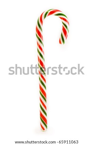 red and green candy cane over white
