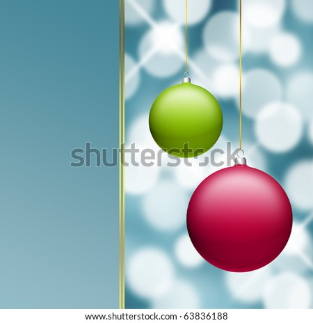 Red and green christmas balls on blue light background, space to insert text or design