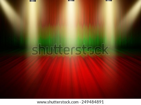 Red and green curtain stage  beautiful  3 downlight  light bright shine on floor shadow, warm yellow light in the empty room