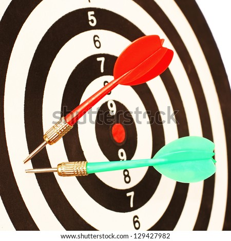 Red and Green Darts in a Dart Board