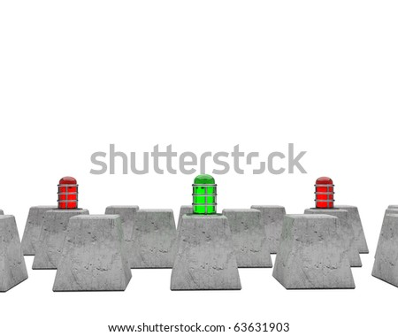 red and green flashers on cement blocks