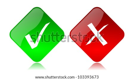 Red and green glossy allow deny buttons icon set with reflection on white background