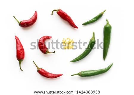 Red and Green hot chilli peppers with seed. Food background. Top view.  Stock photo ©