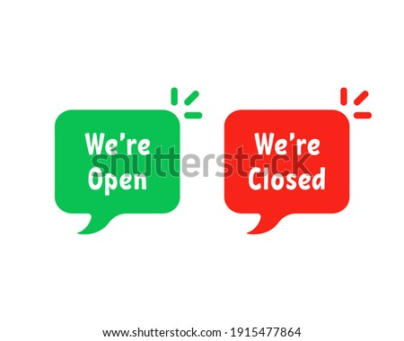 red and green open closed bubbles. concept of group of retail messages. cartoon flat style trend modern logotype graphic art design isoalted on white background Сток-фото ©