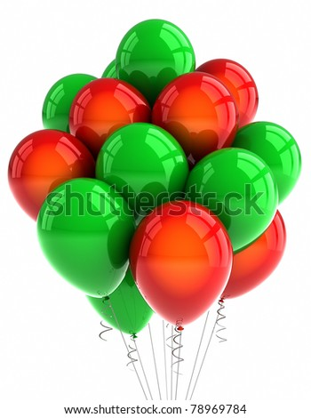Red and green party balloons over white background