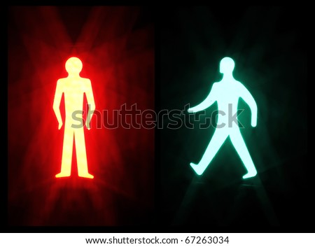 Red and Green pedestrian Crossing Signal On