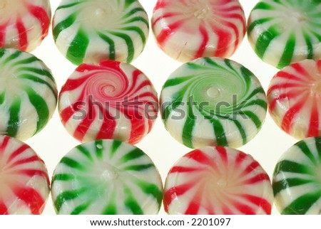 Red and green peppermint candy background