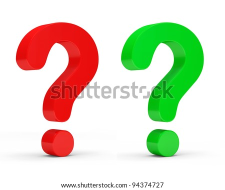 Red and Green Question Marks on white background