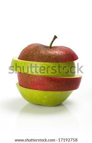 Red and green sliced apple with moisture