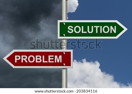 Red and Green street signs with blue and stormy sky with words Problem and Solution, Problem versus Solution