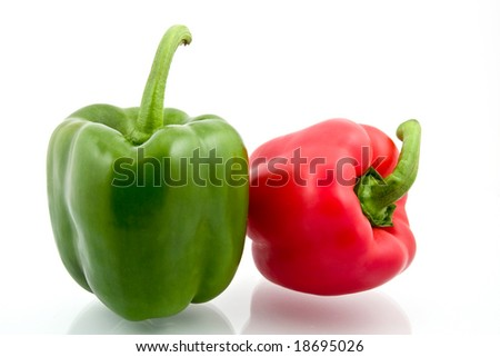 Red and green sweet paprika on white background