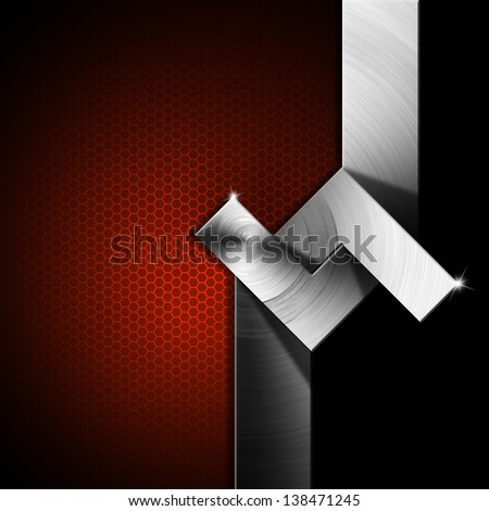 Red and Metal Geometric Background / Metallic, red and black futuristic template background with geometrical forms