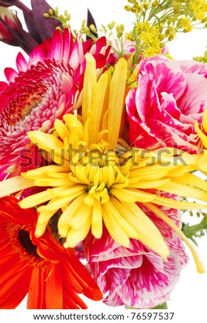 orange flowers bouquet. mums flowers in ouquet