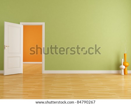Red and orange interior with open white door - rendering