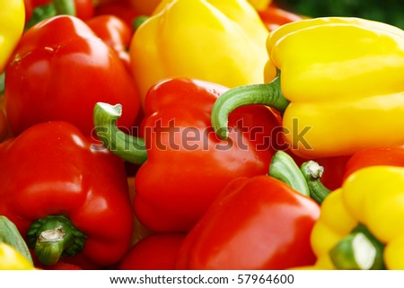 Red and orange sweet bell peppers natural background 