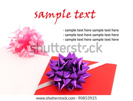 red and pink gift card with ribbon bow on white background blank for your text