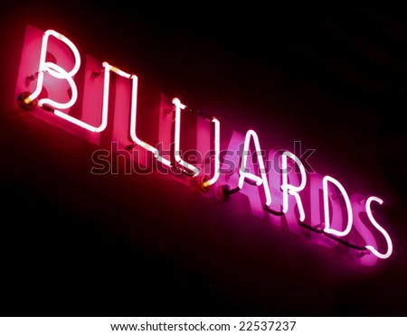 red and pink neon billiards sign
