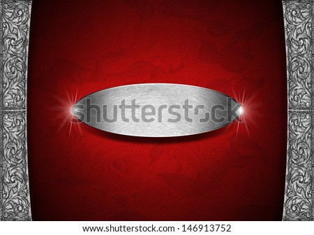 Red and Silver Floral Background with Metal Plate / Red texture with ornate floral roses with metal plate and floral silver frame