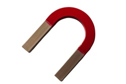 Red and silver horseshoe shaped magnet isolated on white background with clip path cutout, a magnet is an object that produces a magnetic field that attracts ferromagnetic materials