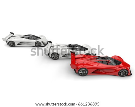 Red and white awesome concept super cars - side view - 3D Illustration #661236895
