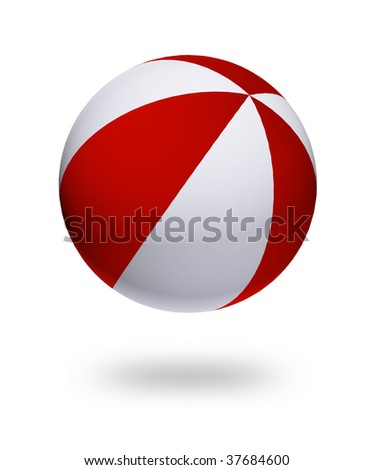 red and white ball toy. Isolated illustration - stock photo