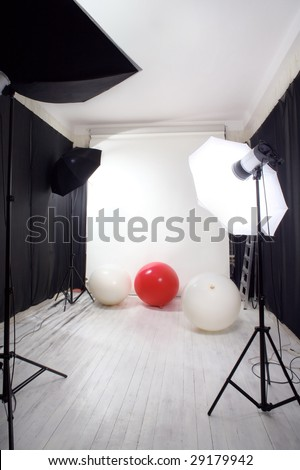red and white balls in the photo studio