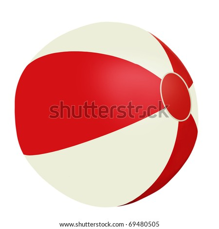 Red and white beach ball - isolated