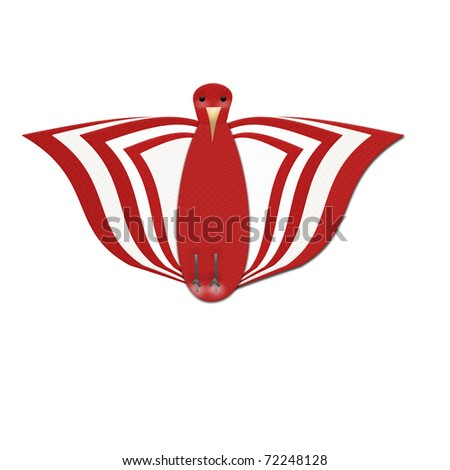 Red and White Bird from Front