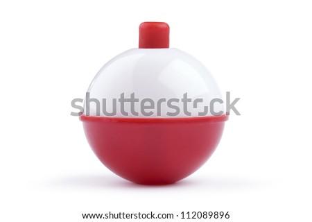 Red and white bobber on white background